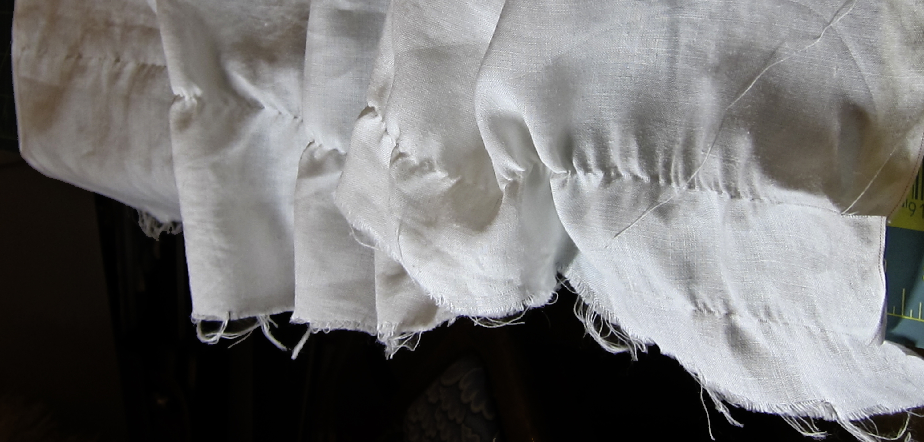 linen scooted along pulled thread across full width of linen