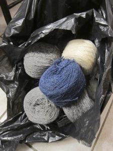 Horrible yarn in bin bag